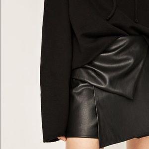 Zara Shorts - Zara Faux Leather Gathered Layered Mini Skort